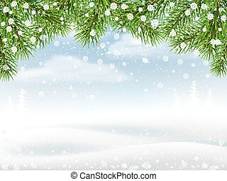Winter background with pine branches snowflakes and ...