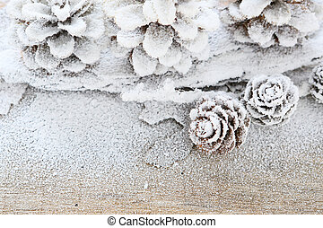 winter background with pine cones, decorations