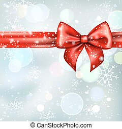 Winter background with red bow ribbon