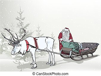 Winter Background with Santa Claus