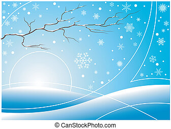Abstract winter illustration with white snowflakes and branch