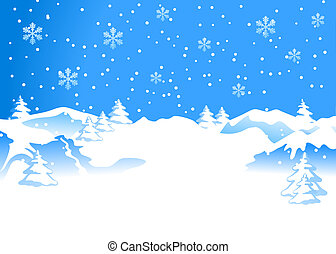 Winter background with snowflakes. Lower space left blank on...