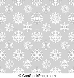 Winter background with snowflakes on grey
