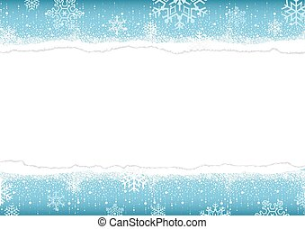 Winter Background with Torn Paper