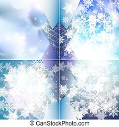 Winter backgrounds set with snowflakes. Abstract winter design and website template, abstract pattern vector