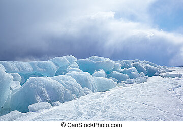Winter Baikal - Winter ice landscape on siberian lake Baikal