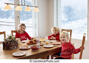 winter., bambini, pasto, colazione, home., natale