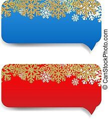 Winter Banner With Snowflake Border