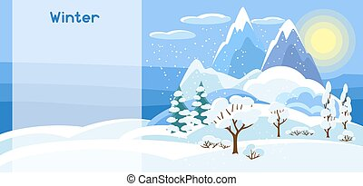 Winter banner with trees, mountains and hills. Seasonal illustration