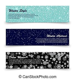 Winter banners template set with snow, shine, snowflakes