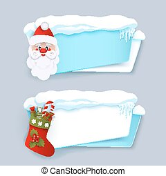 Winter banners with Santa Clause, Christmas boot -...
