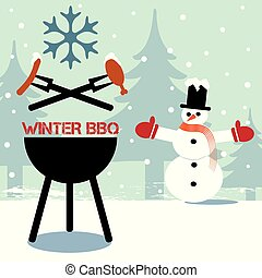 Winter barbeque flaming BBQ grill
