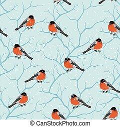 winter- baum, pattern., seamless, weihnachten, vögel