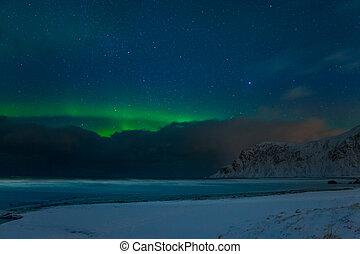 Winter Beach and Stars and Aurora Borealis