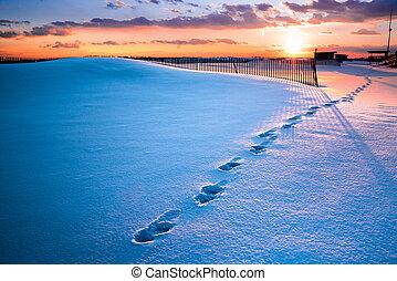 Winter beach sunset snow scene
