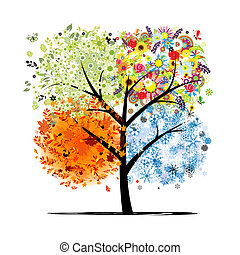 winter., beau, art, printemps, automne, -, arbre, quatre, ...