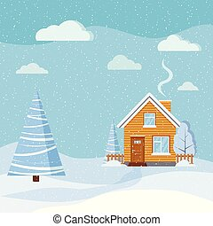 Winter beautiful snowy landscape with country rural wooden house, spruce, clouds, snow in cartoon style.
