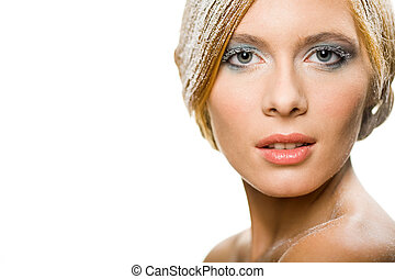 Winter beauty - Beautiful blonde decorated with snow looking...