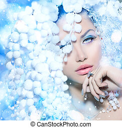 Winter Beauty. Beautiful Fashion Model Girl with Snow Hair...
