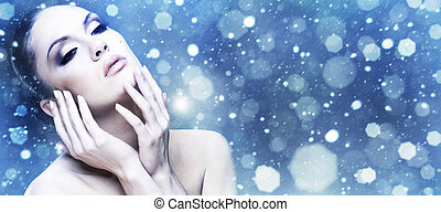 Winter Beauty. Female abstract stylish portrait.