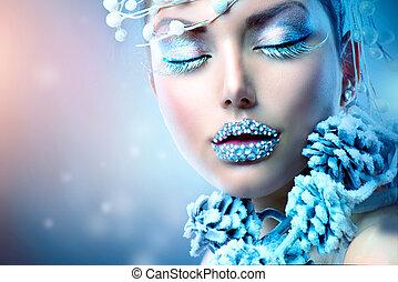 winter, beauty, makeup, kerstmis, meisje, woman.