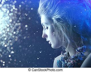 winter, beauty., phantastisch, jahreszeiten, weibliche , porträt, mit, abstrakt, hintergrund