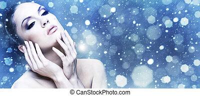 winter, beauty., vrouwlijk, abstract, modieus, portrait.