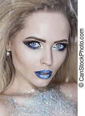 Winter Beauty Woman. Christmas Girl Makeup. Make-up