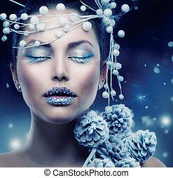 Winter Beauty Woman. Christmas Girl Makeup