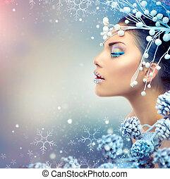 winter, beauty, woman., kerstmis, meisje, makeup