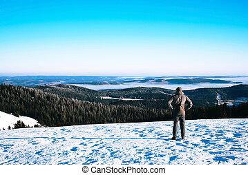 winter., berge, mann, trecken