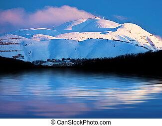 winter, bergen, en, meer, besneeuwd, landscape