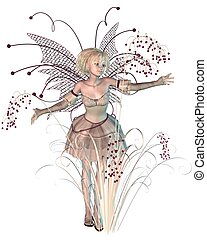 Winter Berries Fairy - Winter fairy with bright red berries,...