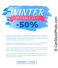Winter Big Sale 2017 Vector Landing Page Poster