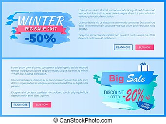 Winter Big Sale 2017 Vector Landing Page Posters