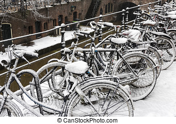Winter Bikes Utrecht - Bike along the canals in Utrecht in a...