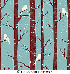 Seamless tiling pattern with birches and birds in winter.