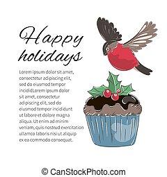 WINTER BIRD Merry Christmas Cartoon Vector Illustration Set