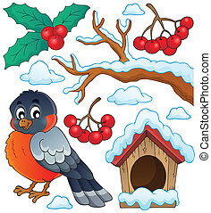 Winter bird theme collection 1 - eps10 vector illustration.