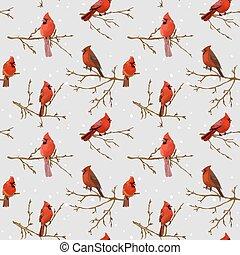 Winter Birds Retro Background - Seamless Pattern - in vector