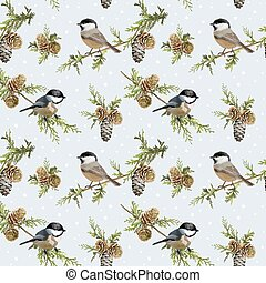 Winter Birds Retro Background - Seamless Pattern - in vector