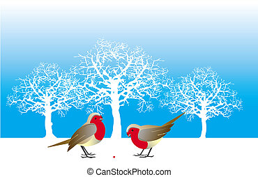 Winter birds - Two birds and a berry