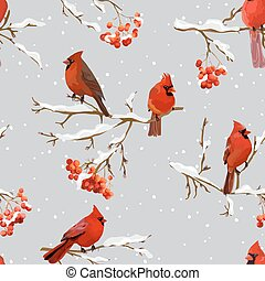 Winter Birds with Rowan Berries Retro Background - Seamless...