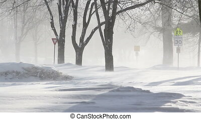 Winter blizzard street scene HD - winter blizzard in street,...