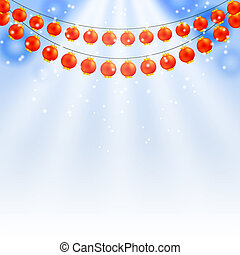 Winter blue background and garland of Chinese lanterns. Vector i