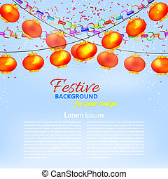 Winter blue background with a garland of orange Chinese lanterns