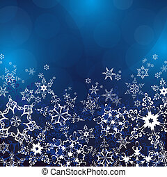Winter blue background with ornate snowflakes