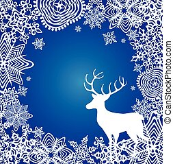 Winter blue background with paper cut out snowflakes and deer