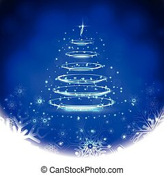 Winter blue background with snowflakes and Christmas tree. ...