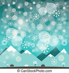 Winter Blue Background with Snowflakes. Illustration of Mountains and Road with Cars.